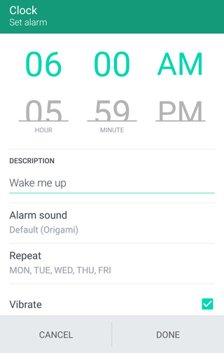 Image showing how to set an alarm.