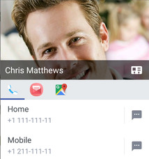 Screen showing various ways to connect with a contact by tapping their photo from the contacts list.